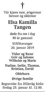 Elsa Kamilla Tangen Dødsannonse