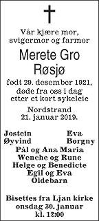 Merete Gro Røsjø Dødsannonse