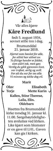 Kåre Fredlund Dødsannonse