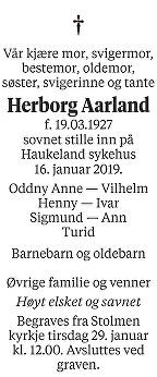 Herborg Aarland Dødsannonse