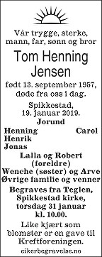 Tom Henning Jensen Dødsannonse