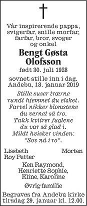 Bengt Gøsta Olofsson Dødsannonse