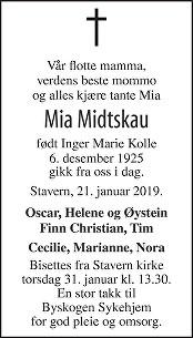Inger Marie Midtskau Dødsannonse