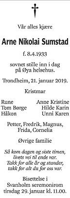 Arne Nikolai Sumstad Dødsannonse