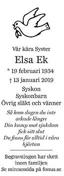 Elsa Ek Death notice