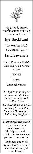 Eje Backlund Death notice