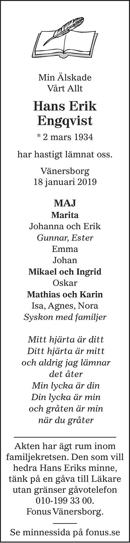 Hans Erik Engqvist Death notice