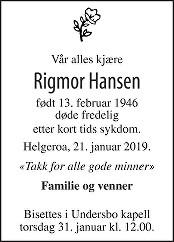 Rigmor Hansen Dødsannonse