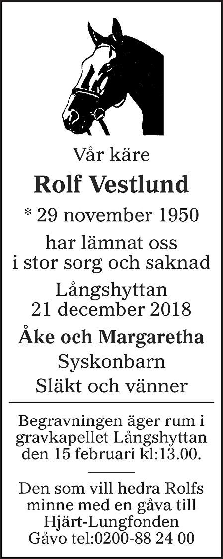 Rolf Vestlund Death notice
