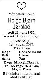 Helge Bjørn Jørstad Dødsannonse