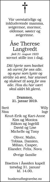 Åse Therese  Langtvedt  Dødsannonse