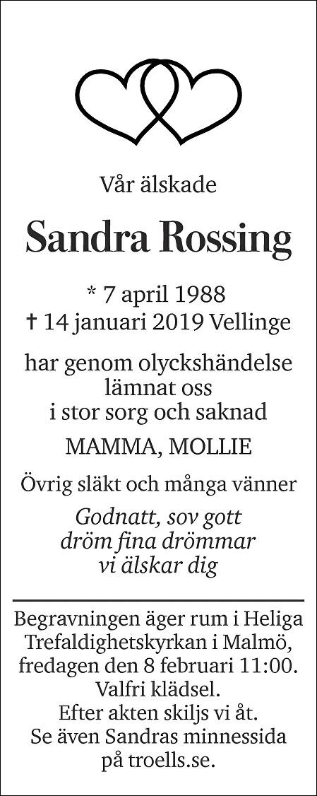 Sandra Rossing Death notice