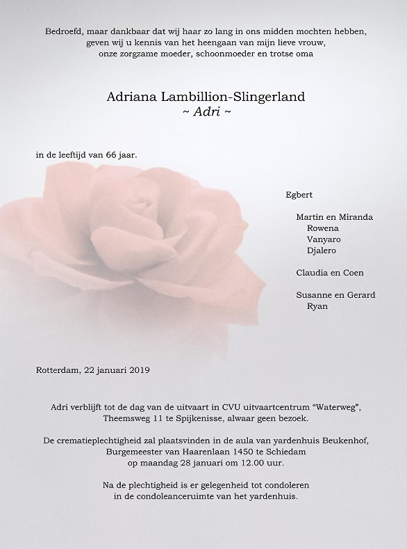 Adri Lambillion-Slingerland Death notice