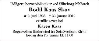 Bodil Kaas Skov Death notice