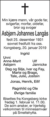 Asbjørn Johannes Langås Dødsannonse