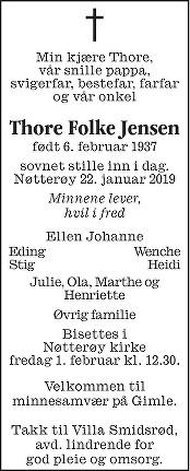 Thore Folke Jensen Dødsannonse