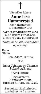 Anne Lise Hammerstad Dødsannonse