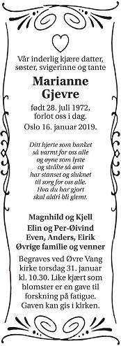 Marianne Gjevre Dødsannonse