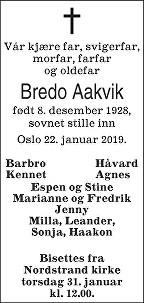 Bredo Arnold Aakvik Dødsannonse