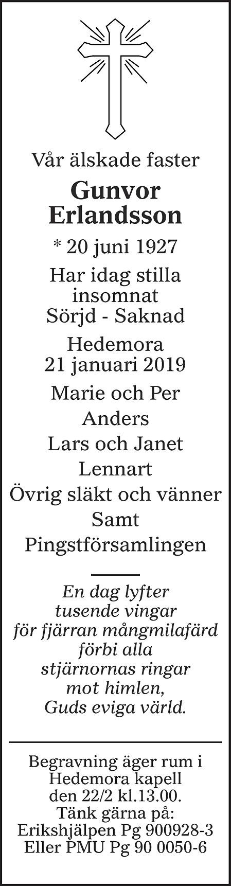 Gunvor Erlandsson Death notice