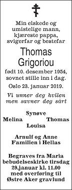 Thomas Grigoriou Dødsannonse