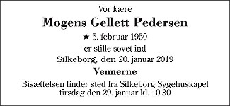 Mogens Gellett Pedersen Death notice
