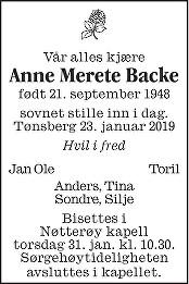 Anne Merete Backe Dødsannonse