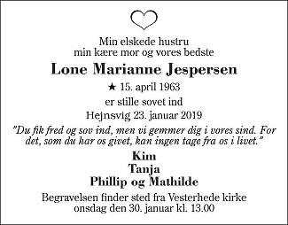 Lone Marianne  Jespersen Death notice