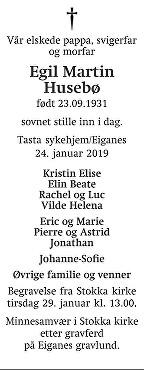 Egil Martin Husebø Dødsannonse