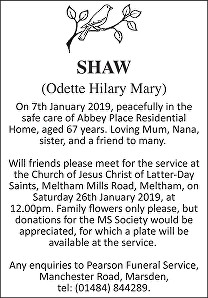 Odette Hilary Mary Shaw Death notice