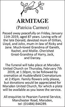 Patricia Carmen Armitage Death notice