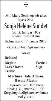 Sonja Helene Sundet Dødsannonse