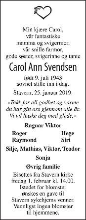 Carol Ann Svendsen Dødsannonse