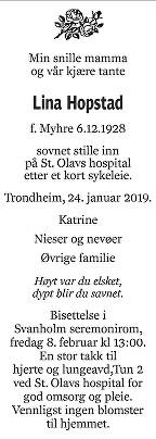 Lina Hopstad Dødsannonse