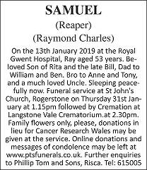 Raymond Charles Samuel Death notice