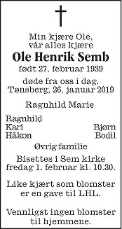 Ole Henrik Semb Dødsannonse