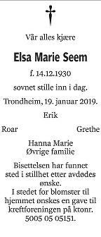 Else Marie Seem Dødsannonse