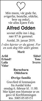 Alfred Odden Dødsannonse