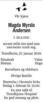 Magda Myrslo Andersen Dødsannonse