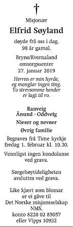 Elfrid Søyland Dødsannonse