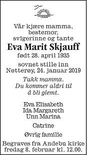 Eva Marit Skjauff Dødsannonse