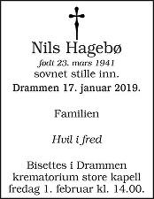 Nils Hagebø Dødsannonse
