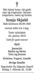 Sonja  Skjøld Dødsannonse