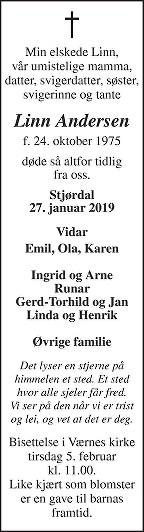 Linn Andersen Dødsannonse