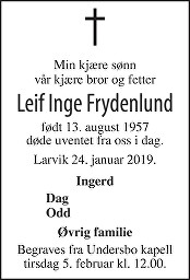 Leif Inge Frydenlund Dødsannonse