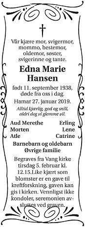 Edna Marie Hansen Dødsannonse