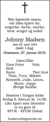 Johnny Michael Madsen Dødsannonse