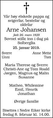 Arne Johansen Dødsannonse