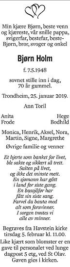 Bjørn Holm Dødsannonse
