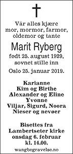 Marit Ryberg Dødsannonse